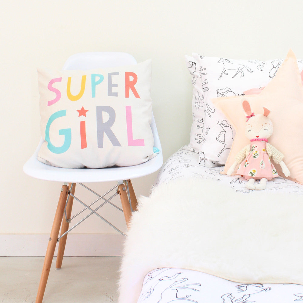 Super Girl decorative throw pillow for kids rooms ...