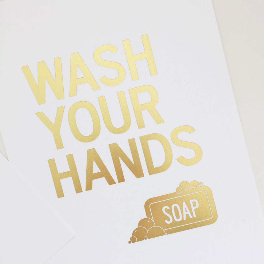 Gold Bathroom Wall Art Print – Wash Your Hands | Parade and Company
