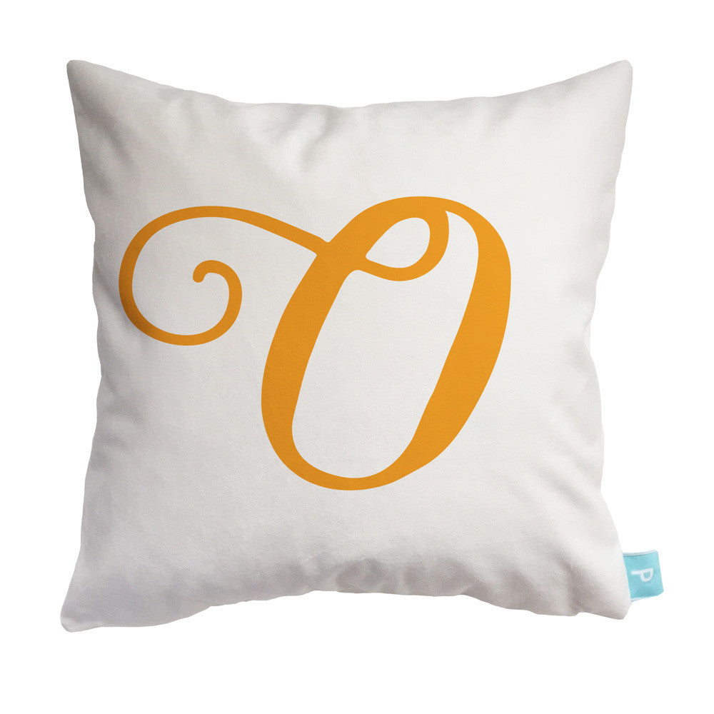 Throw Pillow Cover with Script Initial - Letter