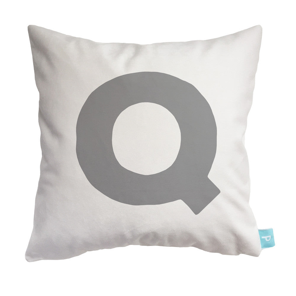 letter Q in grey personalized throw pillow