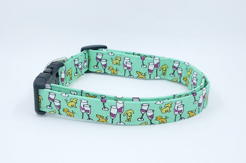 Everything is Fine with Puppies and Wine Dog Collar on Mint Green