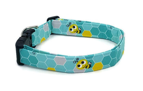 Bees on Teal Honeycomb Dog Collar