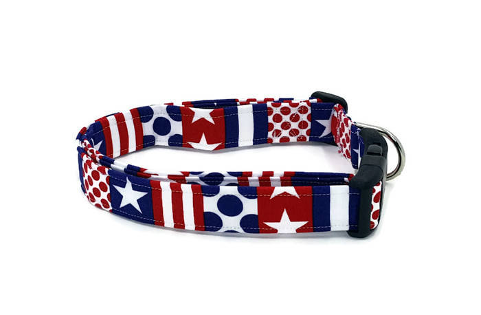 American Anthem Stars Stripes and Polka Dots Red White and Blue Dog Collar