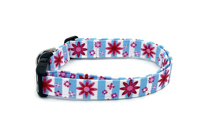 Cute Pink Folk Flowers on Blue and White Stripes Floral Dog Collar