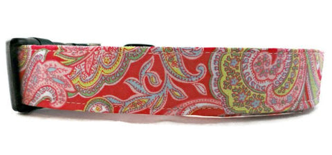 Cute Pink Blue and Green Floral Paisley Dog Collar