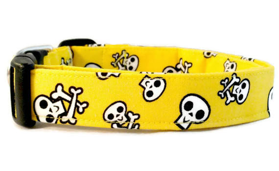 Awesome White Skulls and Crossbones on Bright Yellow Dog Collar