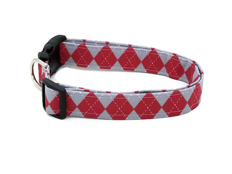 Crimson Red and Gray Argyle Dog Collar
