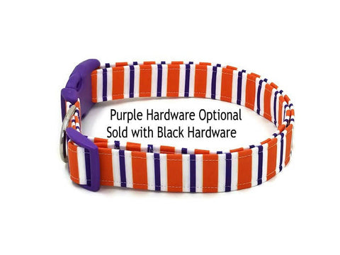 College Colors Orange Purple and White Striped Dog Collar