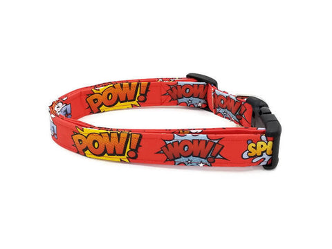 Comic Book Rumble Poof, Wham, Splash, Pow, Zap,Bang, Crack, Wow on Red Dog Collar