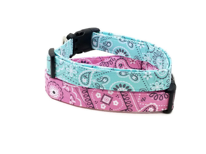 Country Dog Aqua or Light Pink Paisley Bandana Fabric Dog Collar