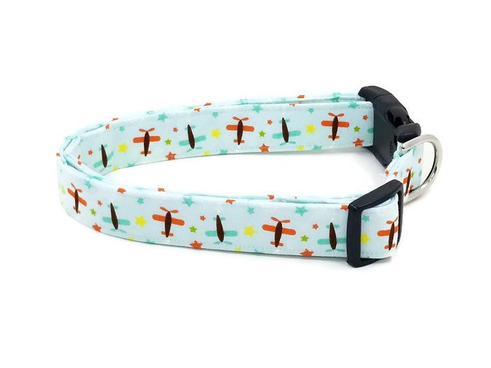 Oh Boy Planes! Orange and Blue Airplanes with Stars on Baby Blue Dog Collar