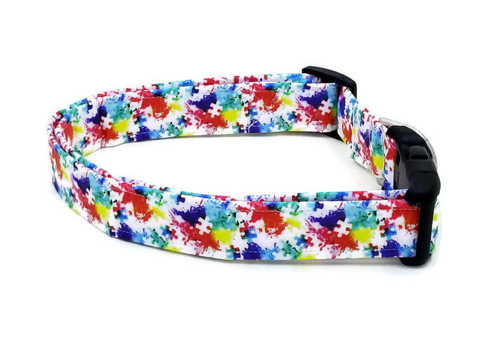 Autism Awareness Watercolor Splatter Puzzle Pieces Dog Collar