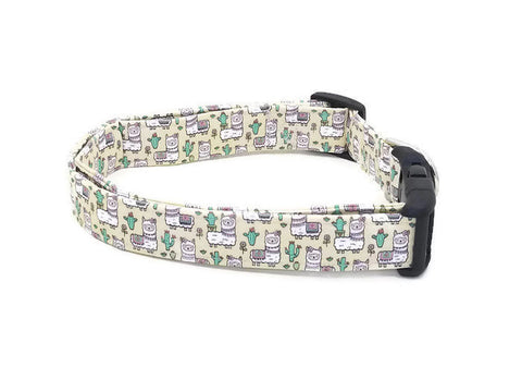 Did Someone say Llamas Llama Cactus and Flowers on Pale Yellow Dog Collar