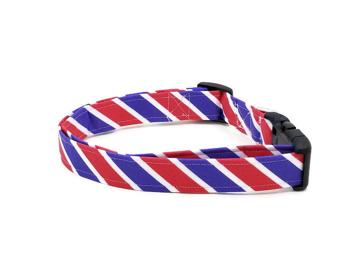 Americana Stripes Red White and Blue Patriotic Stripe Dog Collar