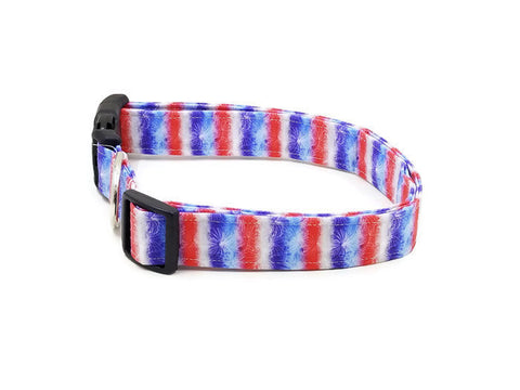 Fireworks and Red White and Blue Stripe Celebration Dog Collar