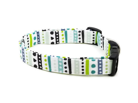 Aztec Scandinavian Style Dots and Stripes Hearts Dog Collar