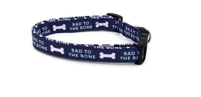 Bad to the Bone White Bones on Blue Dog Collar