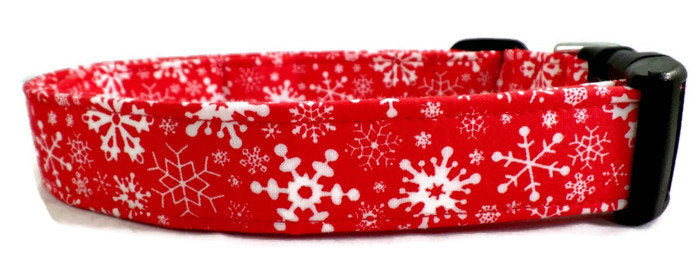 Awesome White Snowflakes on Red Dog Collar Burrrrr