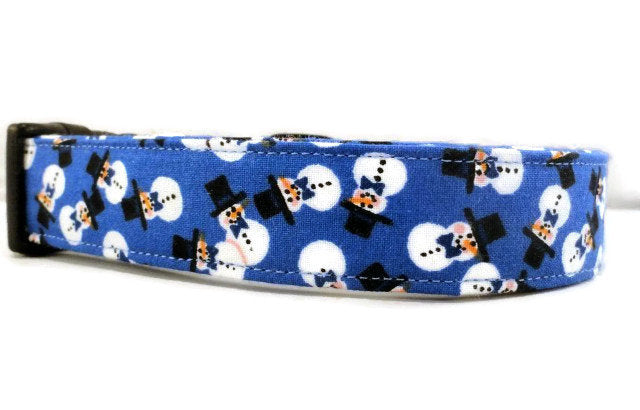 Awesome Top Hat Snowmen on Blue Dog Collar Snowman