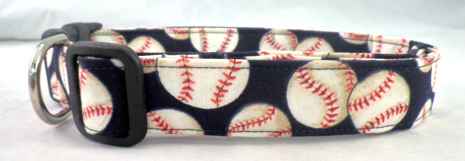 Going Going Gone Home Run Cream Baseballs with Red Stitching on Navy Blue Sports Dog Collar