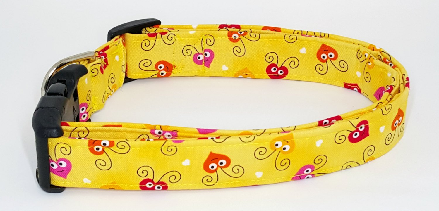 Love Bugs Valentines Day Pink Orange and Red Hearts on Yellow Dog Collar