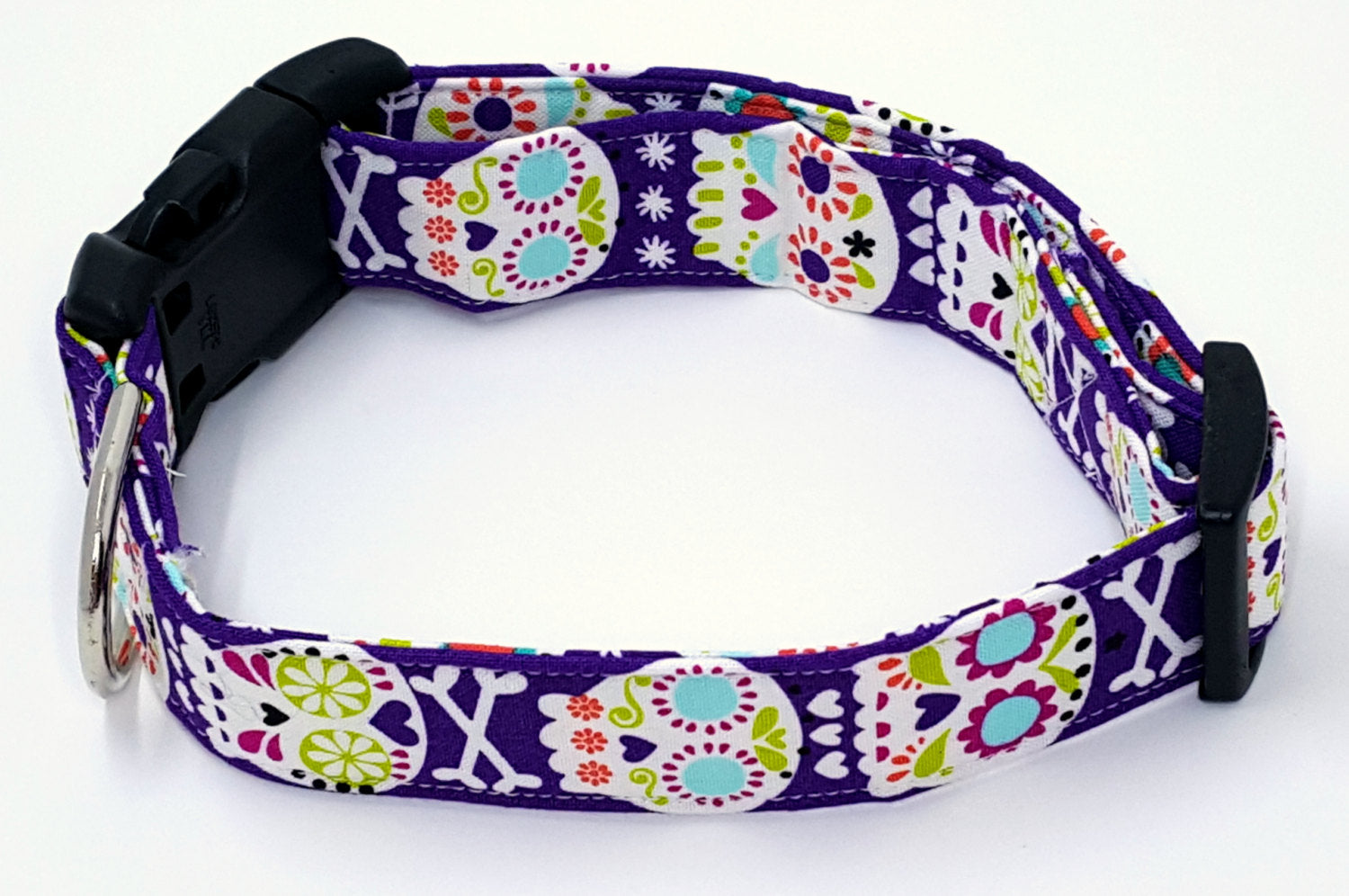 Giant Bone Head Dia De Los Muertos Skulls and Crossbones Purple Halloween Dog Collar