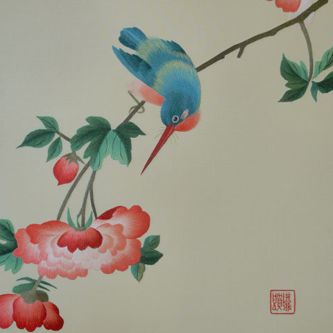 Blue Bird and Cotton Rose