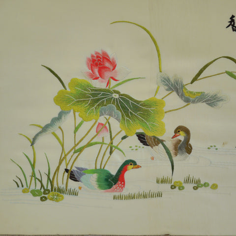 Mandarin Ducks and Lotus Pond
