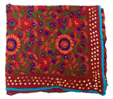 Vintage Indian Embroidered Silk Scarf