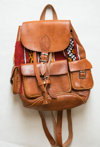 Moroccan Kilim Leather Backpack