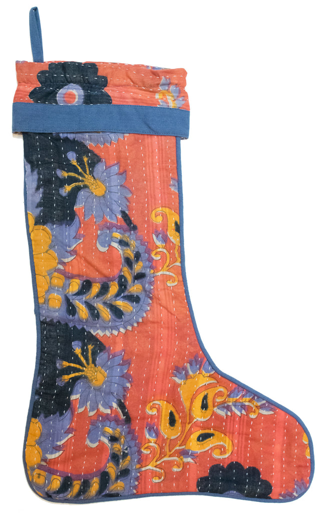 Vintage Kantha Holiday Christmas Stocking | Worldwide Textiles