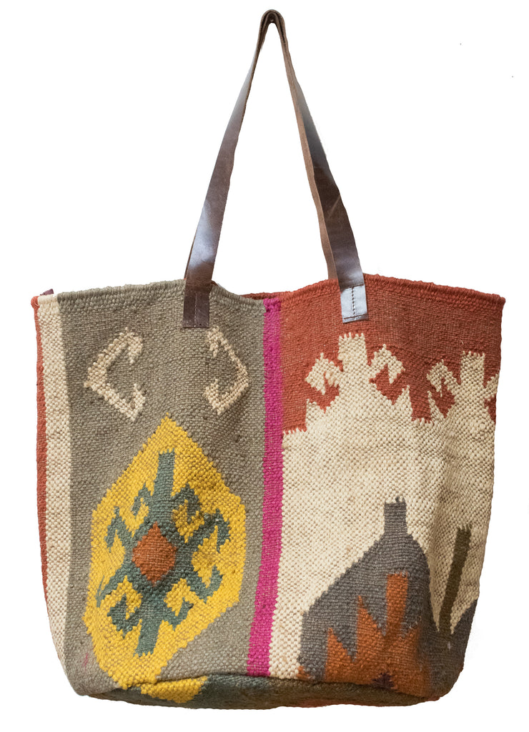 Jute Dhurrie Kilim Carpet Tote Bag