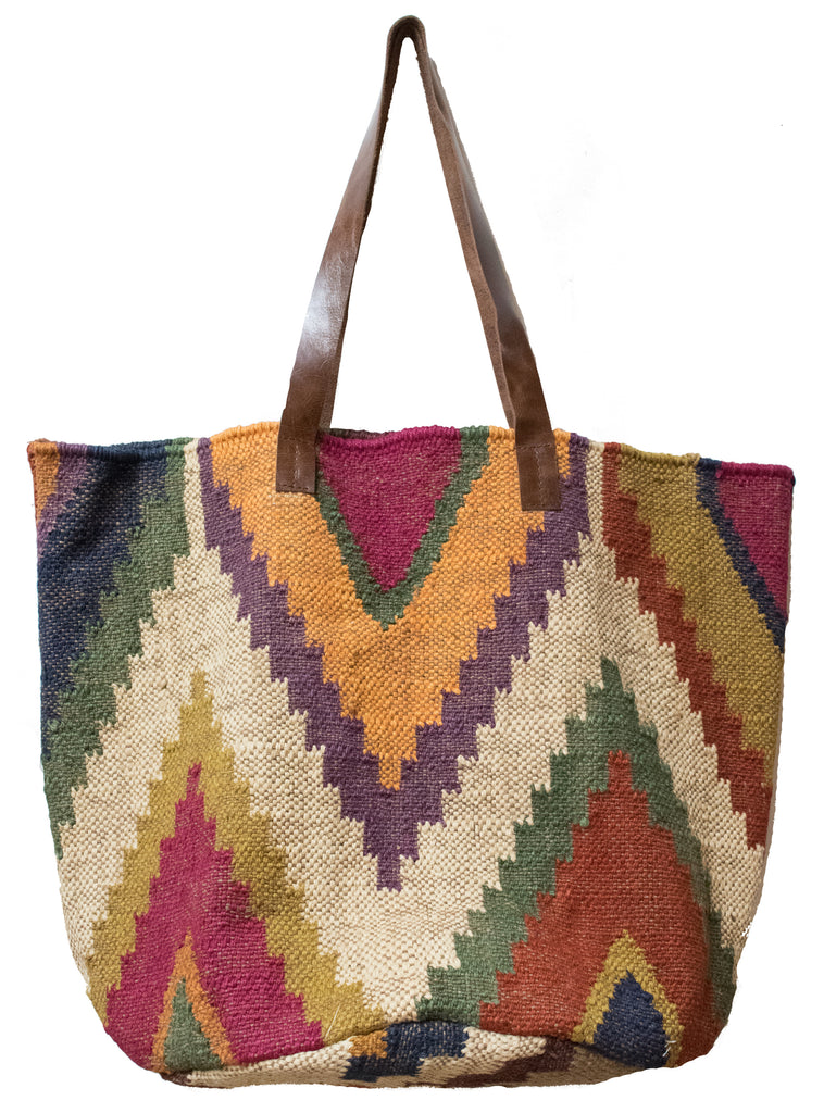 Jute Dhurrie Carpet Tote Bag