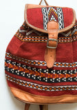 Moroccan Kilim Leather Backpack | Worldwide Textiles