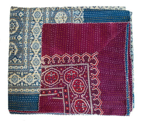 Block Printed Indian Kantha Quilt