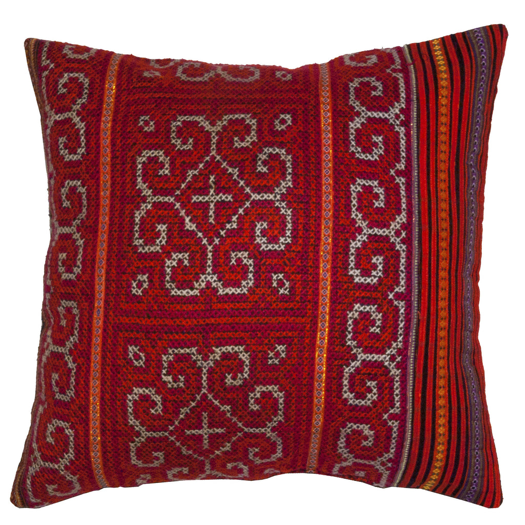 Vintage Hmong Embroidered Pillow