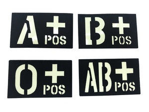 Blood type Patch with Velcro (Black)