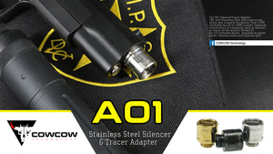 CowCow A01 Stainless Steel Silencer Adapter (11mm to 14mm, Black)