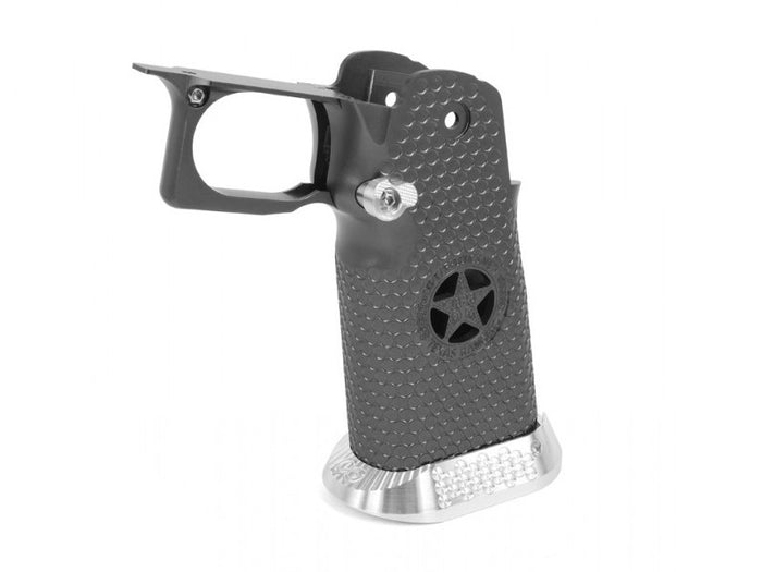 Airsoft Masterpiece Aluminum Grip for Hi-CAPA Type 5 - Texas Rangers (Titanium Grey)