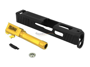 GunsModify S-Style Aluminum CNC Slide W/ KKM Golden Barrel for Marui G18C GBB