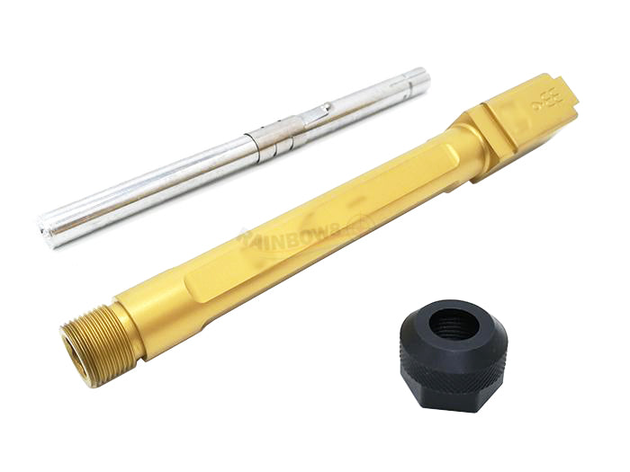 GunsModify SA Style KKM G34 Stainless Threaded Outer Barrel Set For TM G34 (Fluted, Gold)