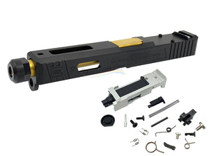 GunsModify SA Style RMR Slide / Threaded Stainless Barrel (Gold) / Housing & Parts Set For Marui G17