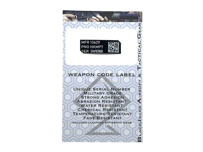 Blackjack Tactical Weapon Code Label For MP7 Model