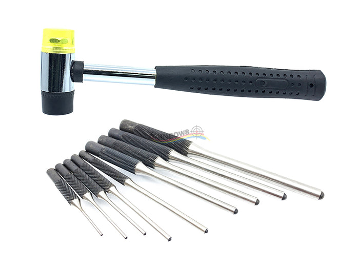 Gunsmithing Roll Pin Starter Punch Set Tool with Dual Head Plastic & Rubber Hammer