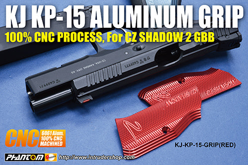 KJ Works Aluminum CNC Grip for KJ KP15 CZ SHADOW 2 (Red)