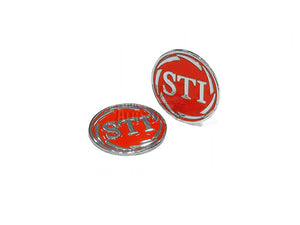 ADEPOT CUSTOM STI Style Metal Grip Badge for Hi-Capa (Silver Red)