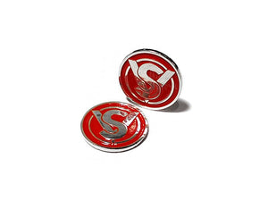ADEPOT CUSTOM SV Style Metal Grip Badge for Hi-Capa (Silver Red)