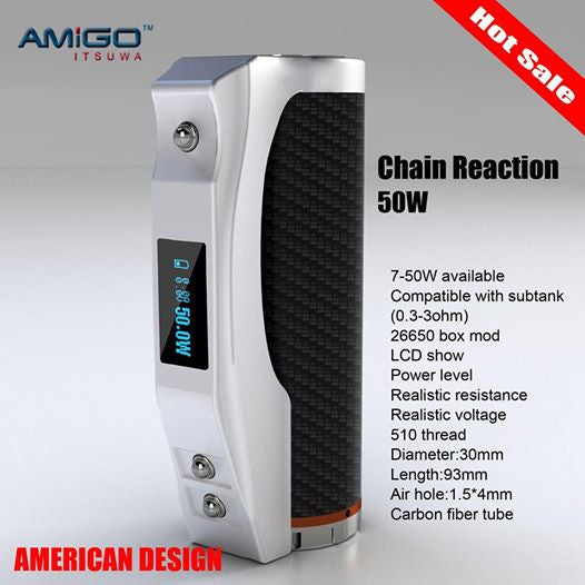 **50% OFF ORIGINAL PRICE**AMIGO CHAIN REACTION 26650mah 50W MOD by Itsuwa w/Aluminum Handgun-Style Display Case