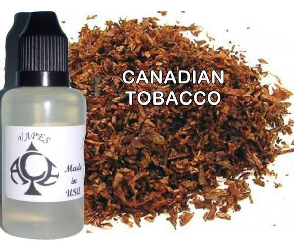 * CANADIAN TOBACCO * E-Liquid Vape Fluid Juice - Choose your Nicotine Level, PG/VG mix & bottle size