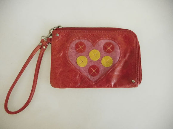 FOSSIL Red Glazed Leather Heart Candy Icon Wristlet - MINT Condition